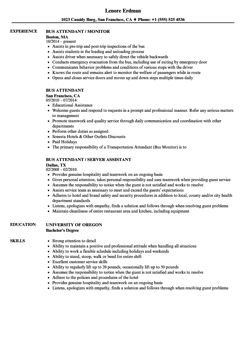 bus attendant resume samples velvet jobs