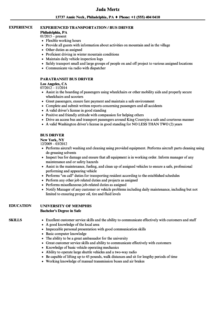 download bus driver resume sample as image file - Sample Resume For Coach Driver