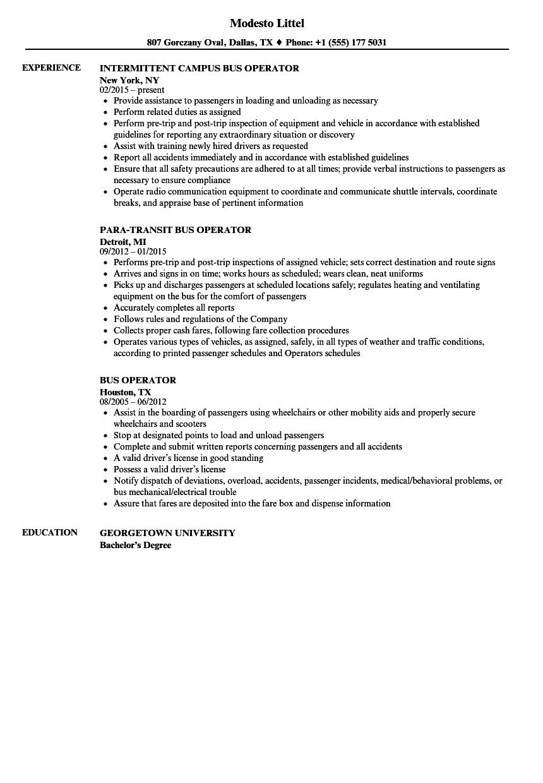 bus operator resume samples
