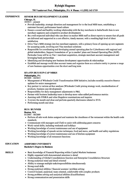 bus resume samples