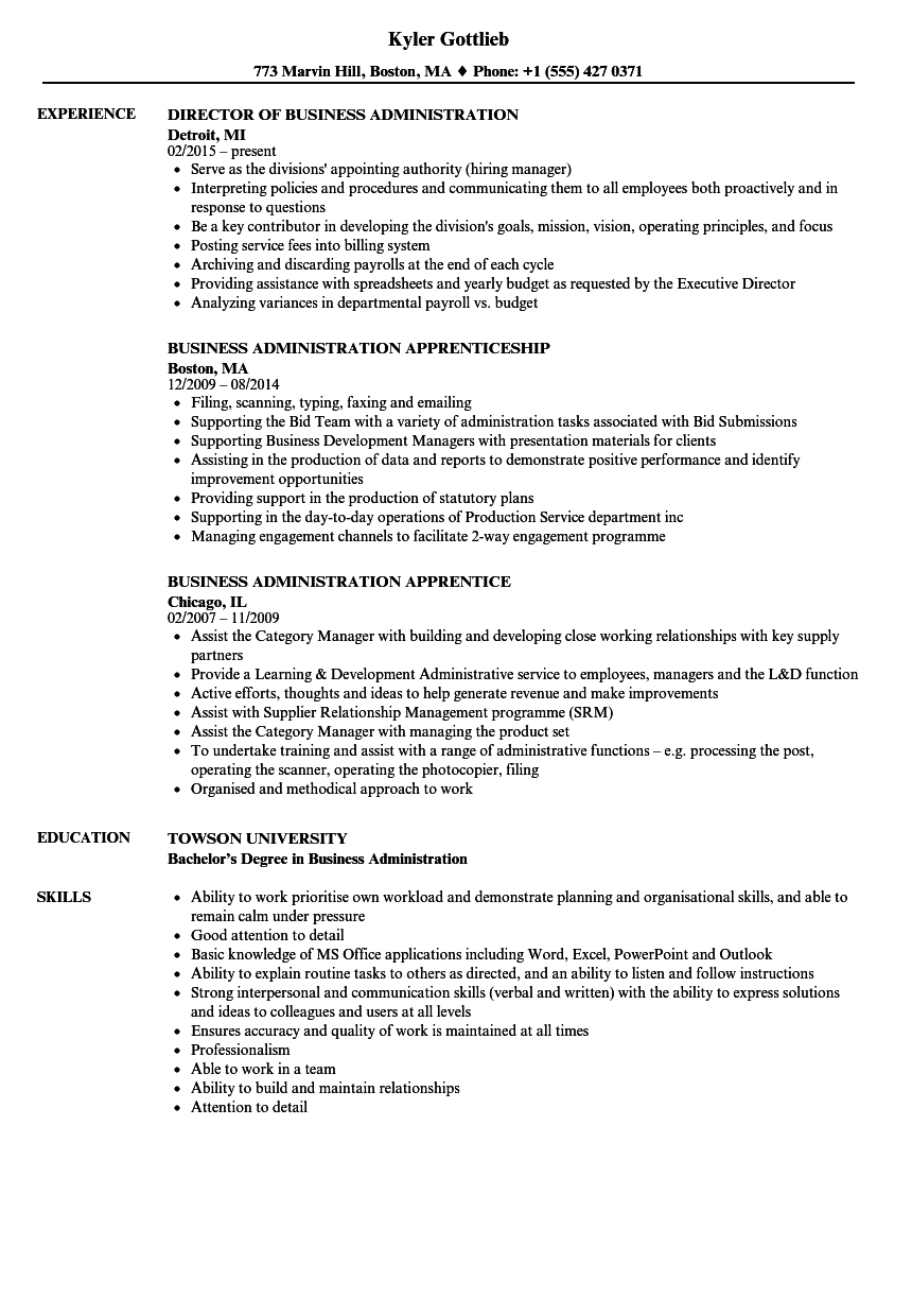 Business Administration Resume Samples Velvet Jobs