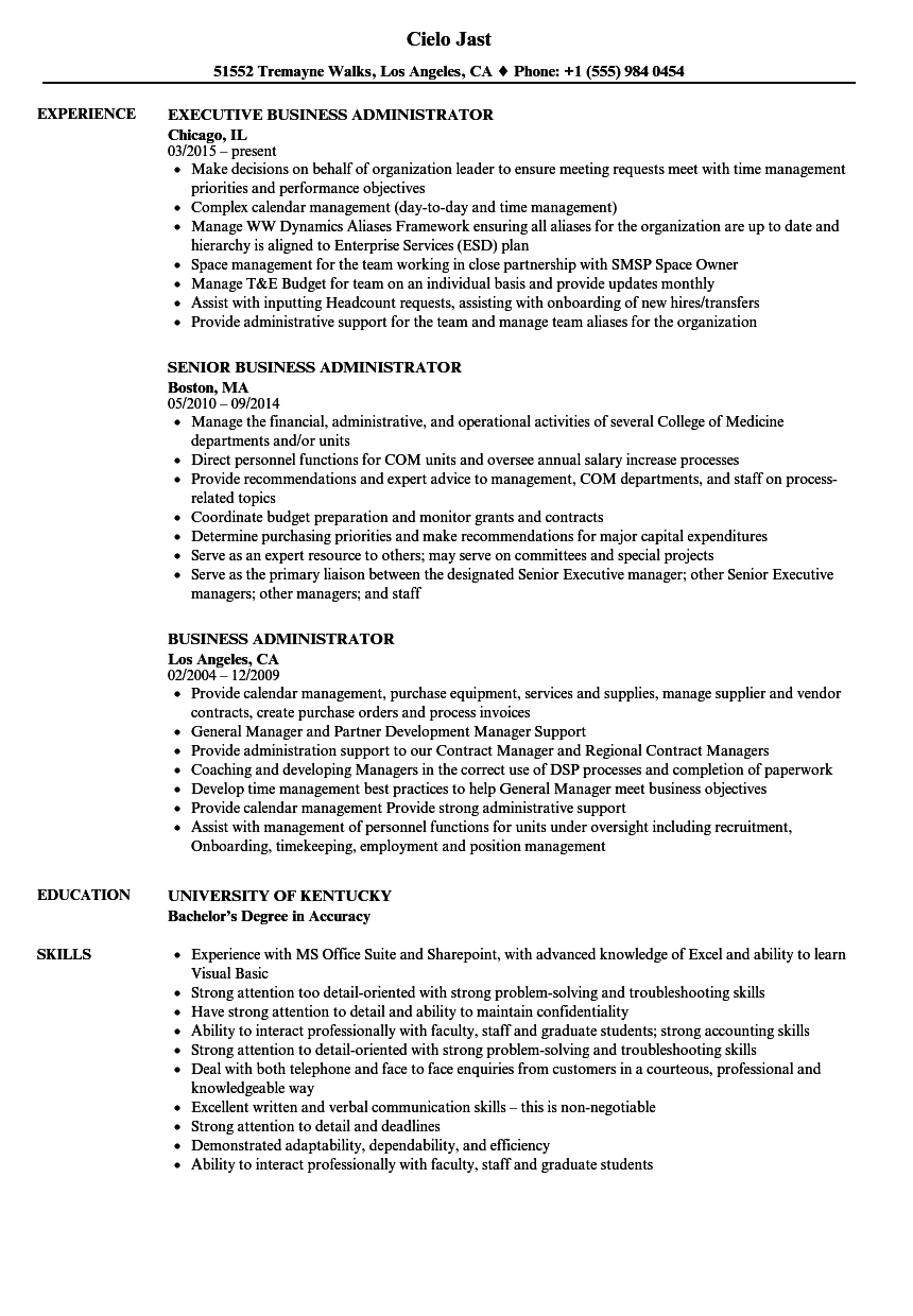 Business Administrator Resume Samples | Velvet Jobs