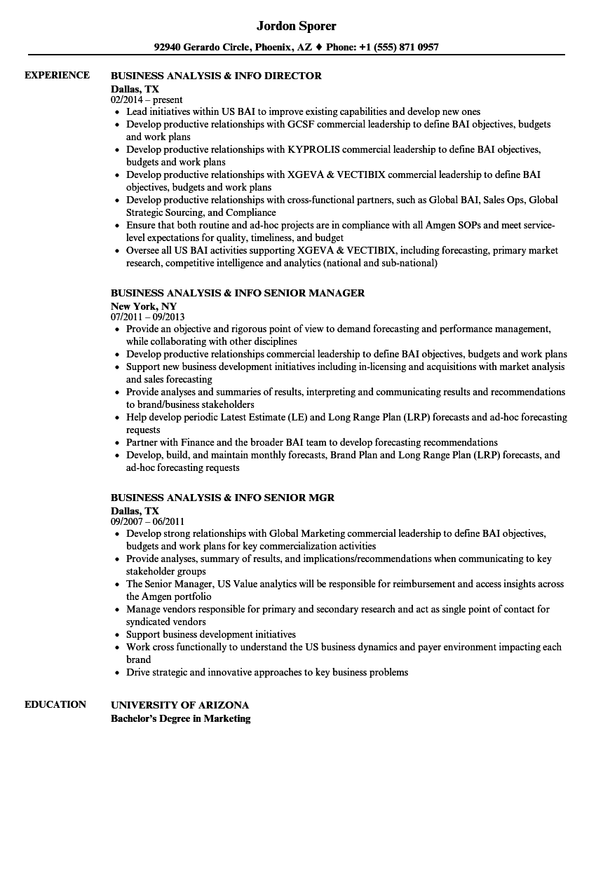 business analysis  u0026 info resume samples
