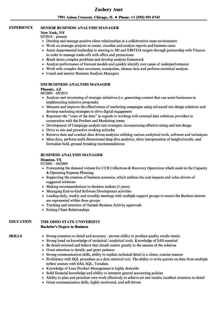 business analysis manager resume samples