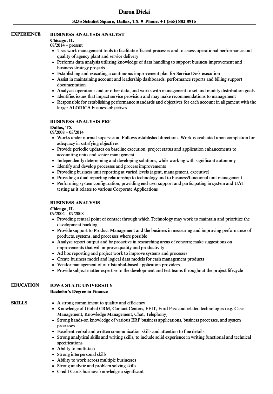 business analysis resume samples