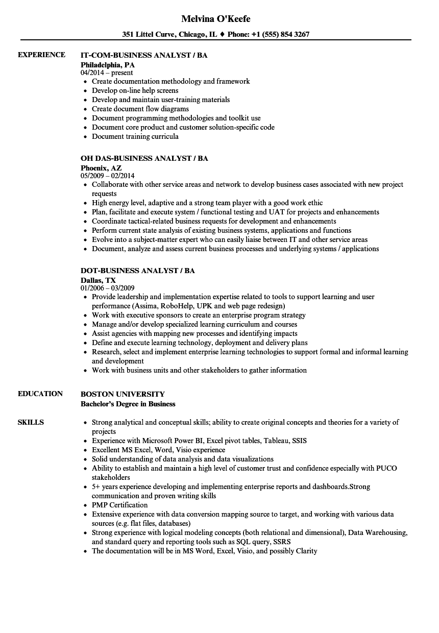 business analyst    ba resume samples