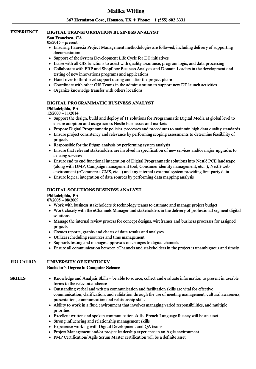 Digital resume example