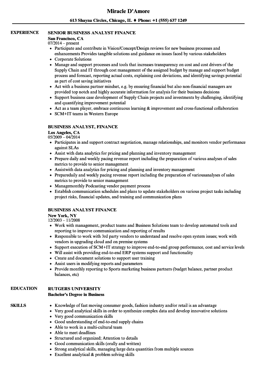 Business Analyst Finance Resume Samples Velvet Jobs