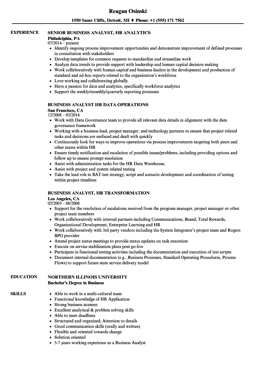 business analyst hr resume samples
