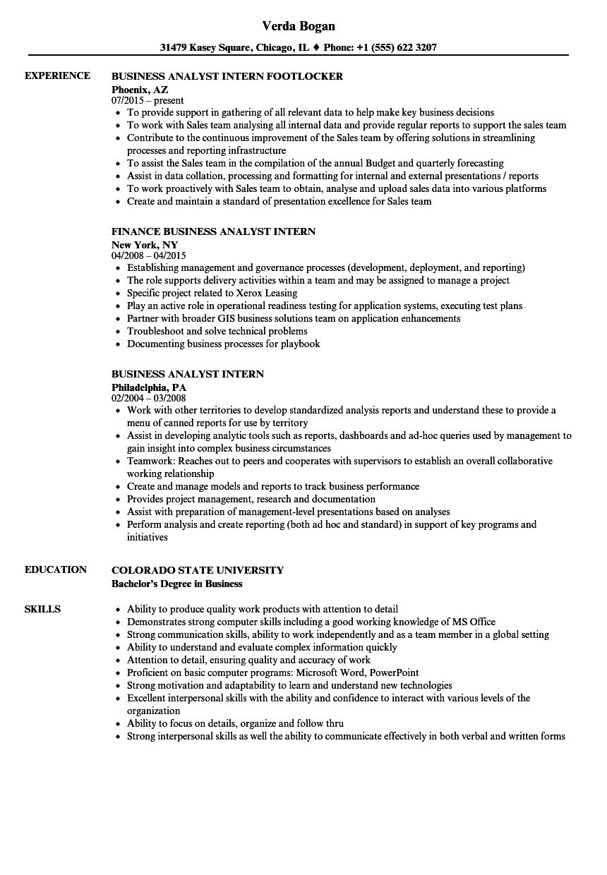 Download Business Analyst Intern Resume Sample As Image File