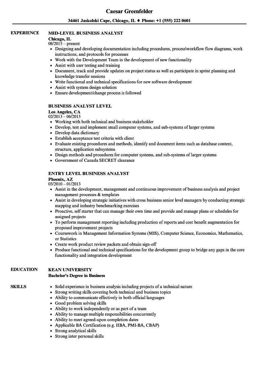 business analyst level resume samples velvet jobs
