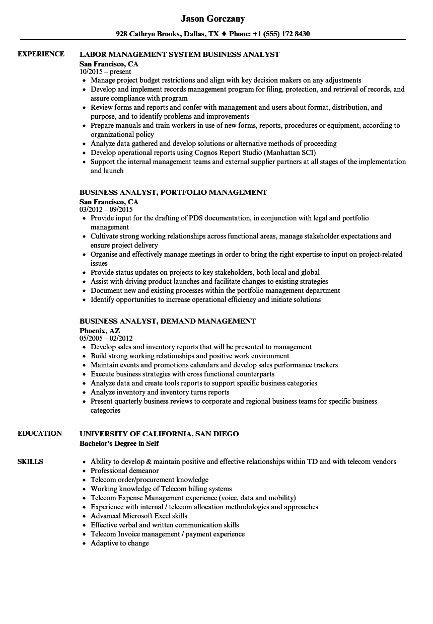 Business Analyst Management Resume Samples Velvet Jobs