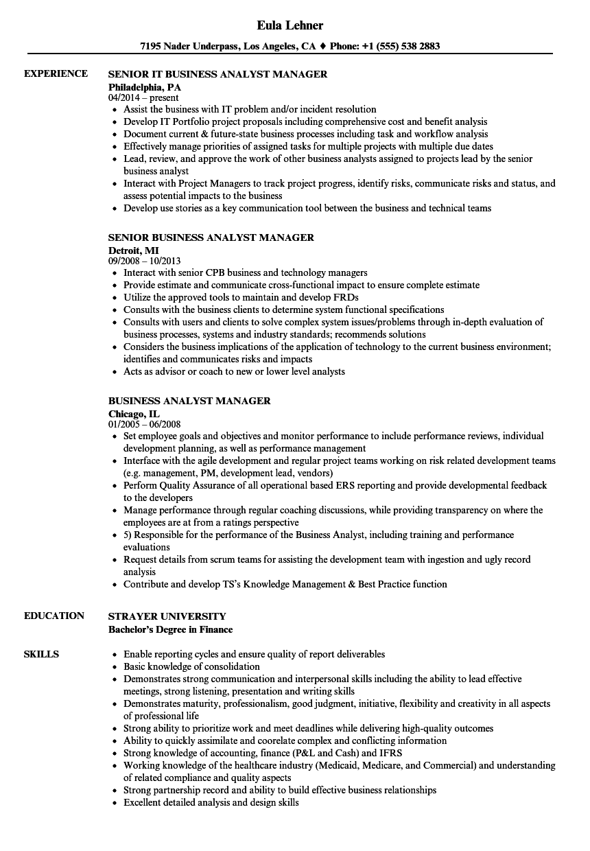 Download Business Analyst Manager Resume Sample As Image File