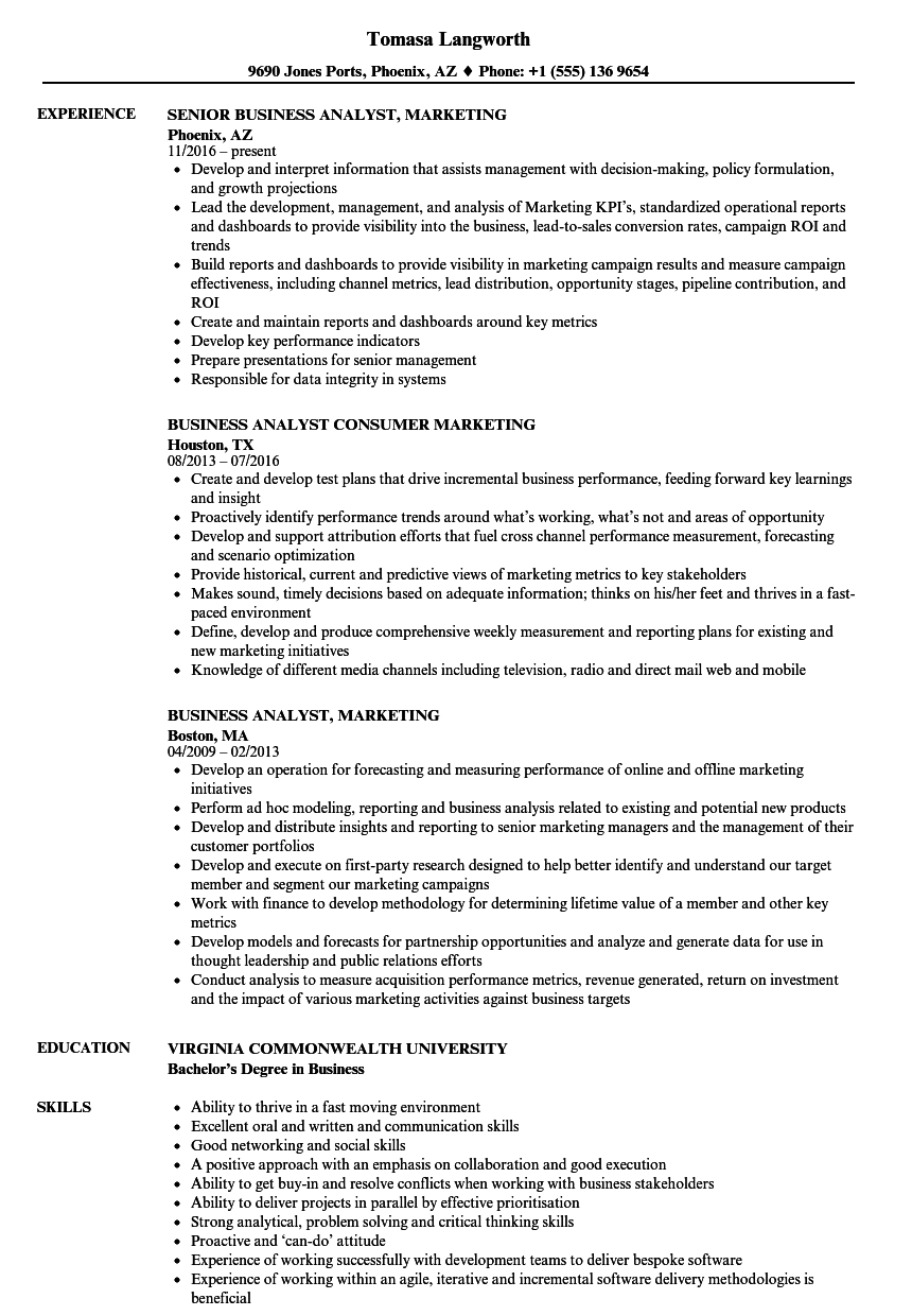 business analyst marketing resume samples velvet jobs
