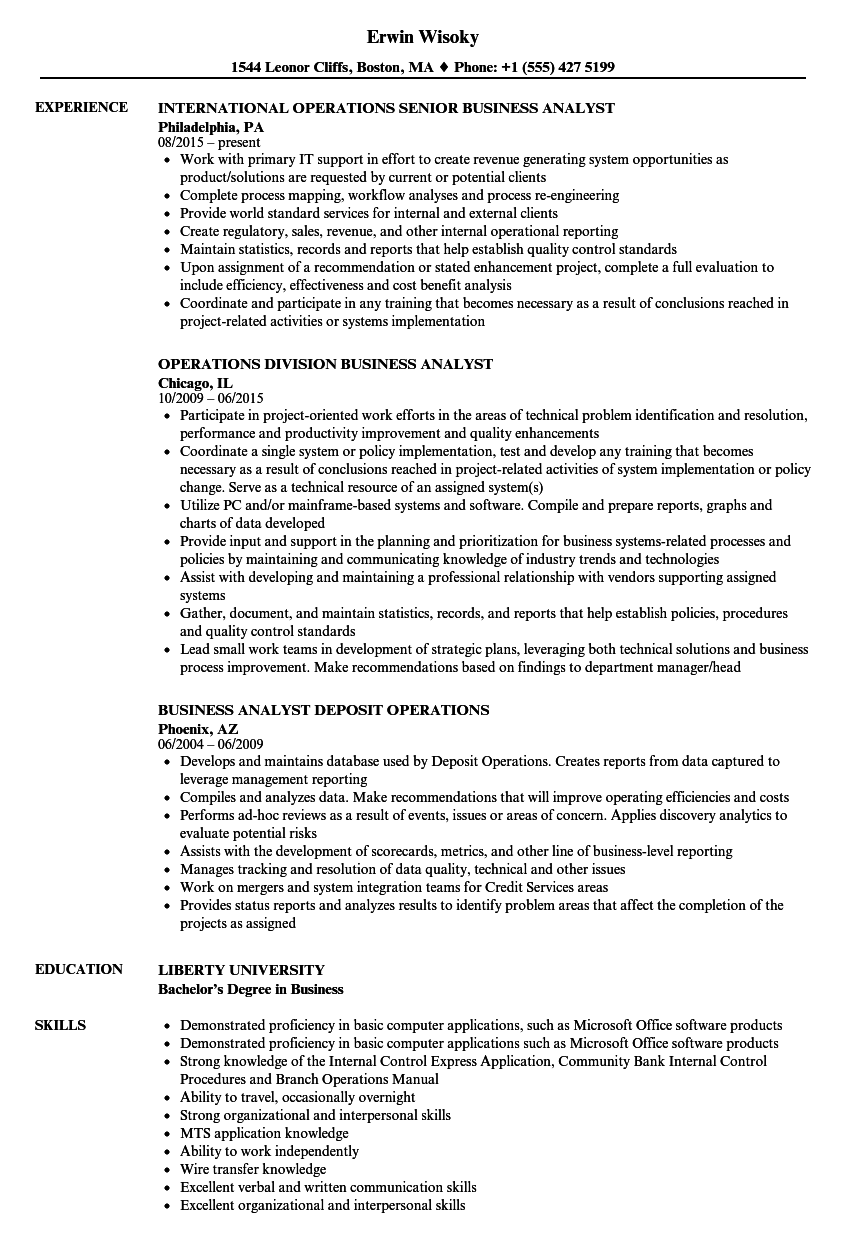 business analyst  operations resume samples