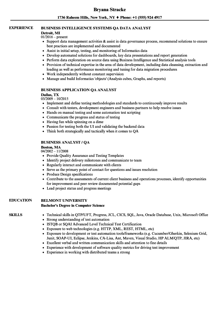 Business Analyst Qa Analyst Resume Samples Velvet Jobs