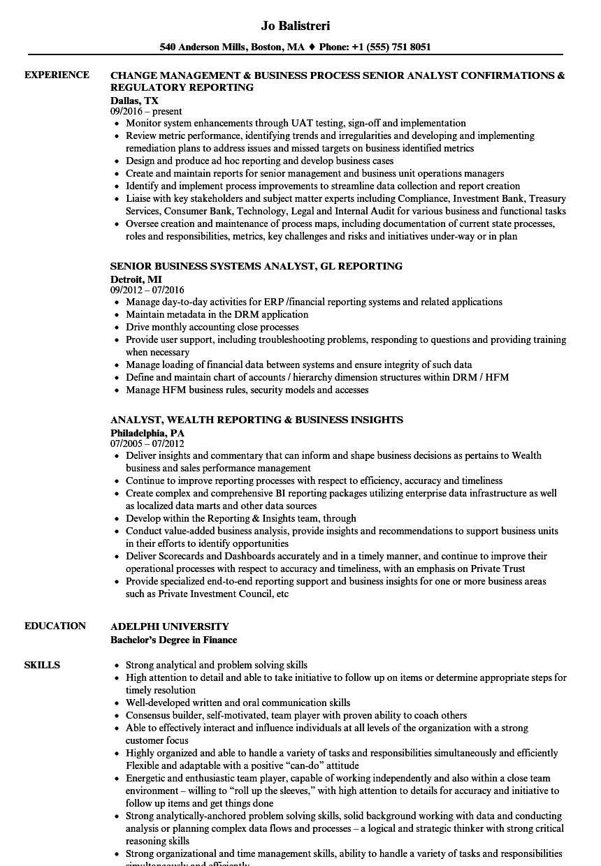 Business Analyst & Reporting Analyst Resume Samples | Velvet Jobs