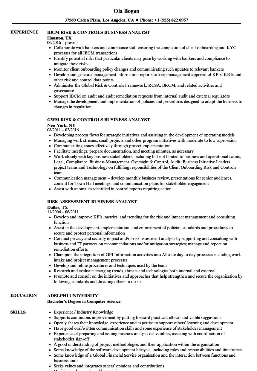 business analyst    risk analyst resume samples