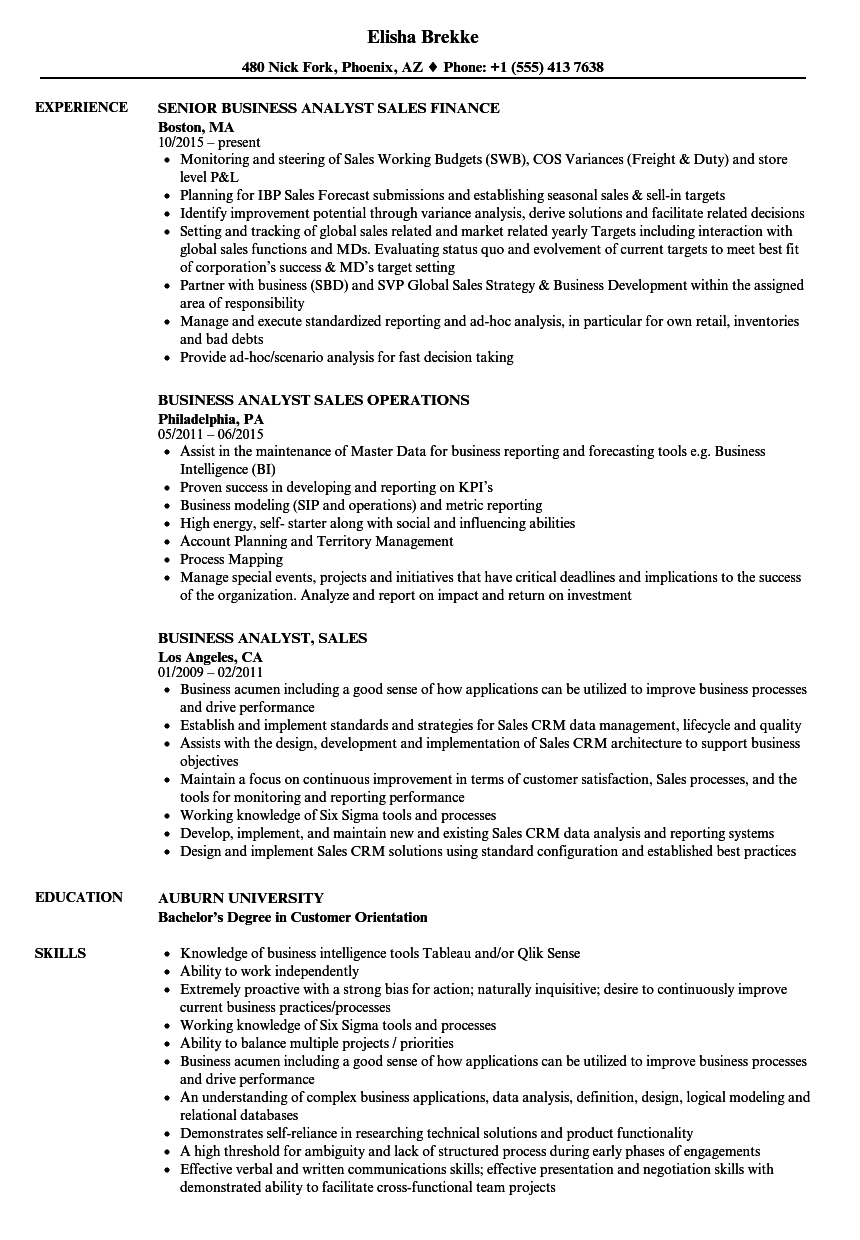 business analyst  sales resume samples
