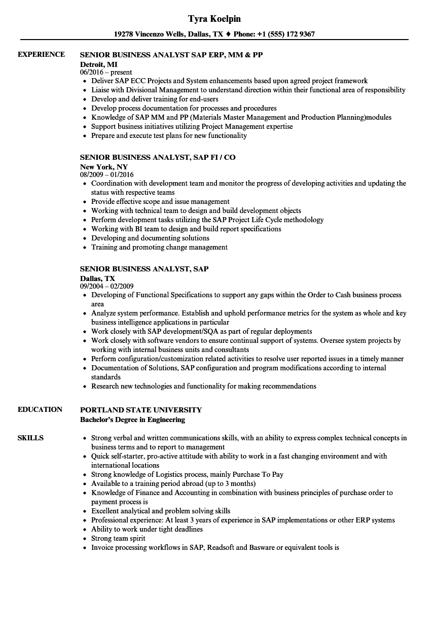 business analyst sap resume samples