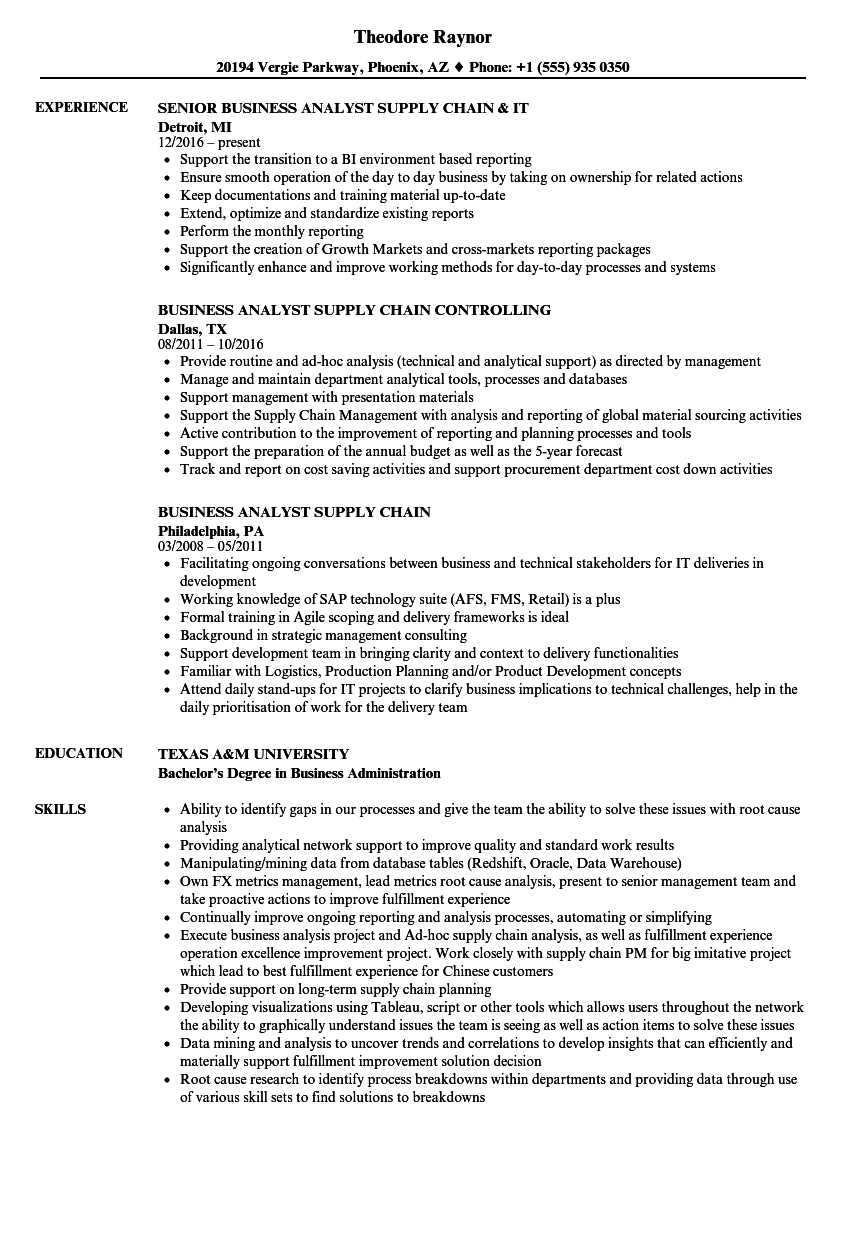 Business Analyst, Supply Chain Resume Samples | Velvet Jobs