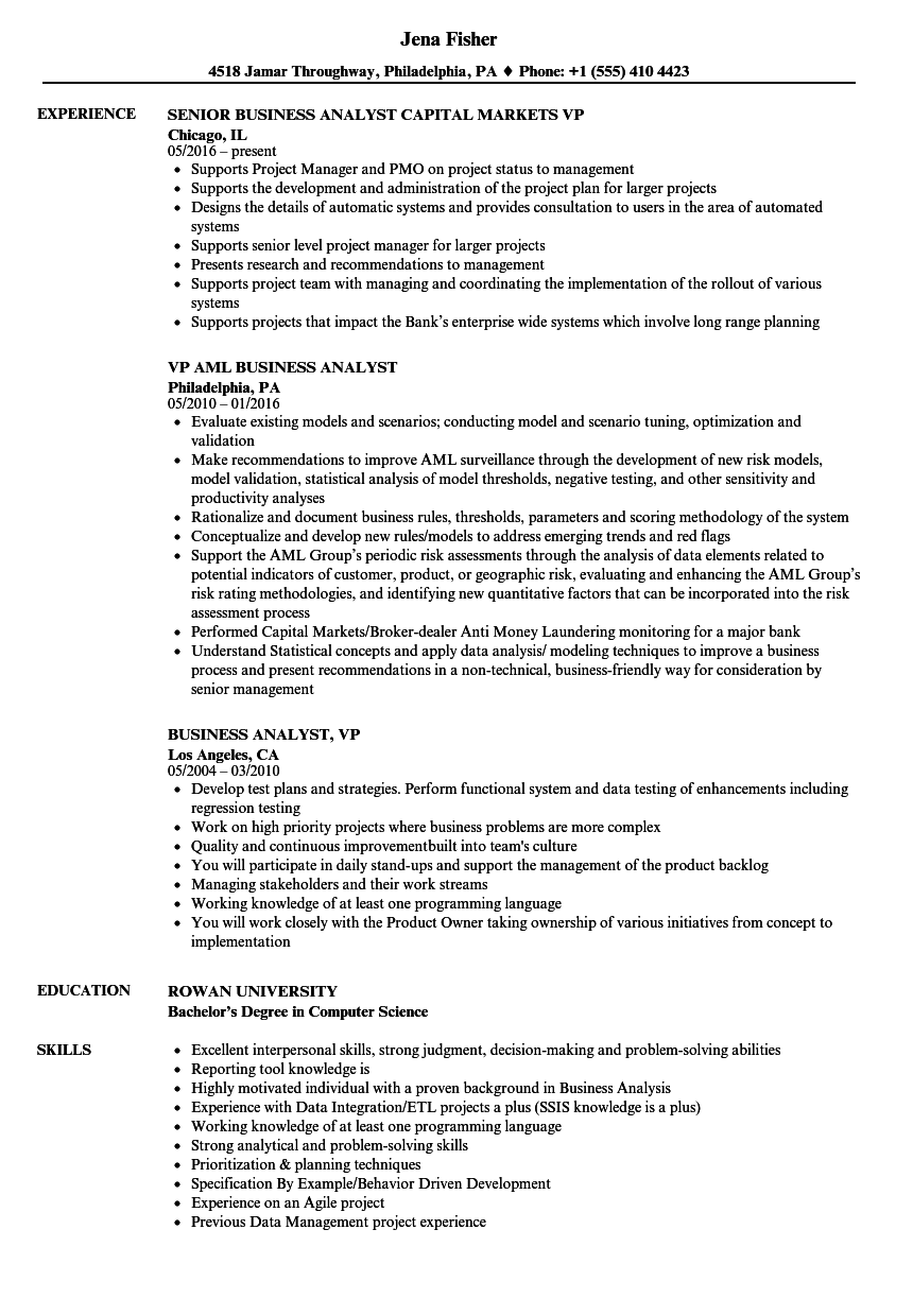 Business Analyst VP Resume Samples Velvet Jobs - Computer Science Resume Projects