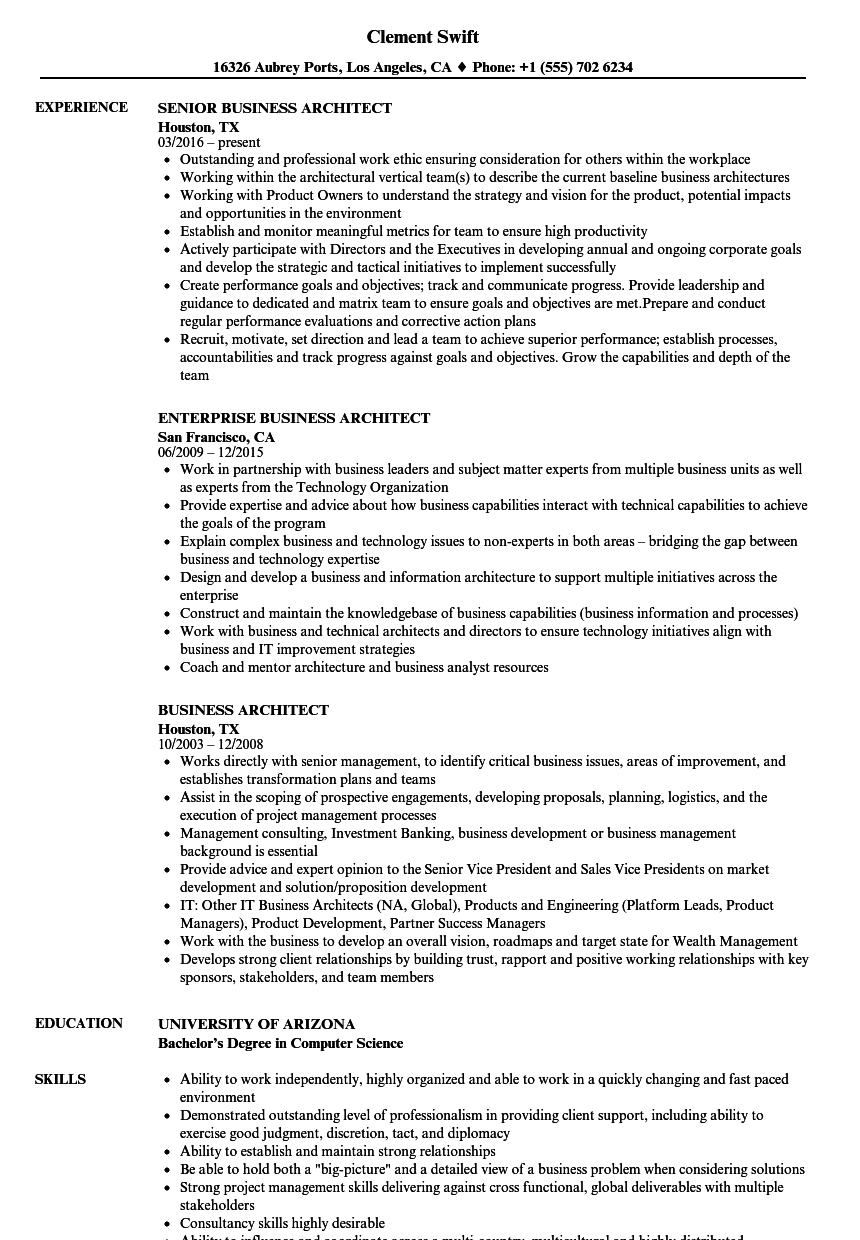 Download Business Architect Resume Sample As Image File