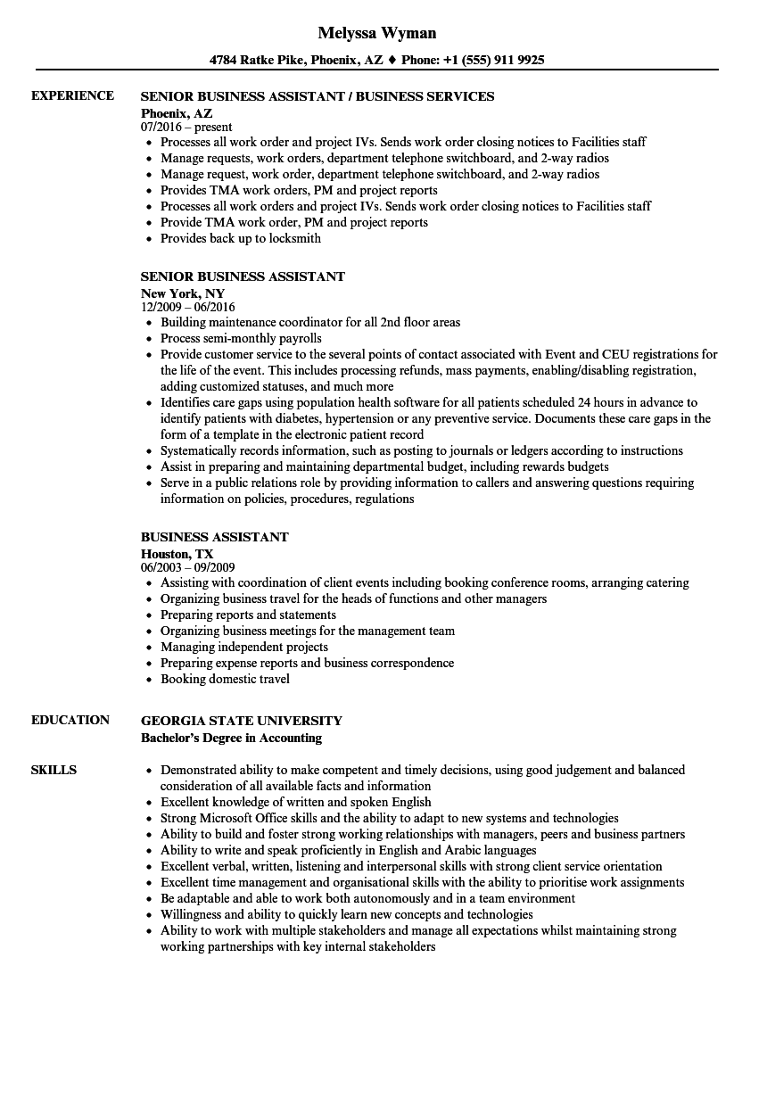 business assistant resume samples
