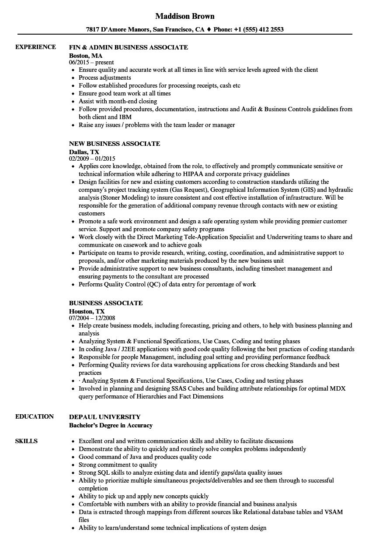 Business Associate Resume Samples | Velvet Jobs