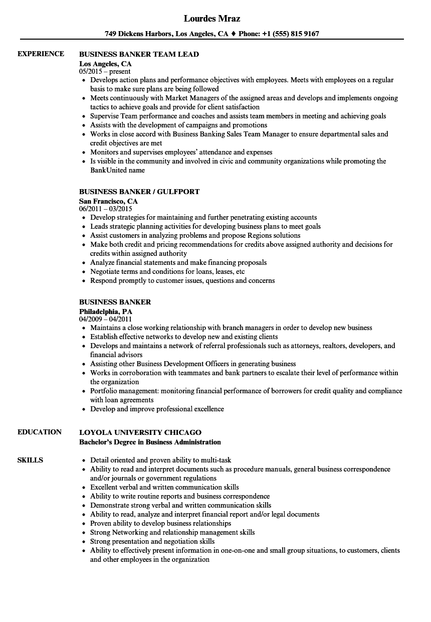 High Quality Download Business Banker Resume Sample As Image File Inside Business Banker Resume