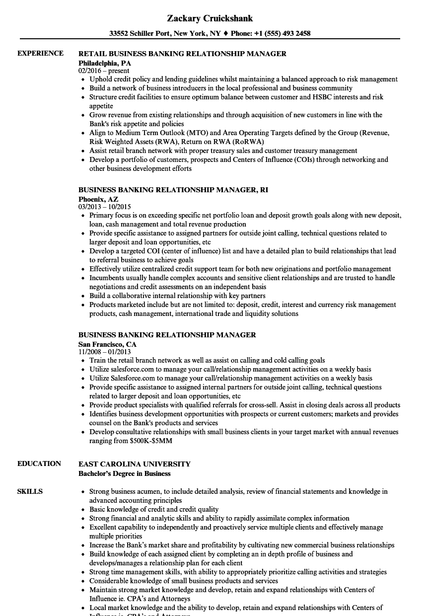 Business Banking Relationship Manager Resume Samples Velvet Jobs
