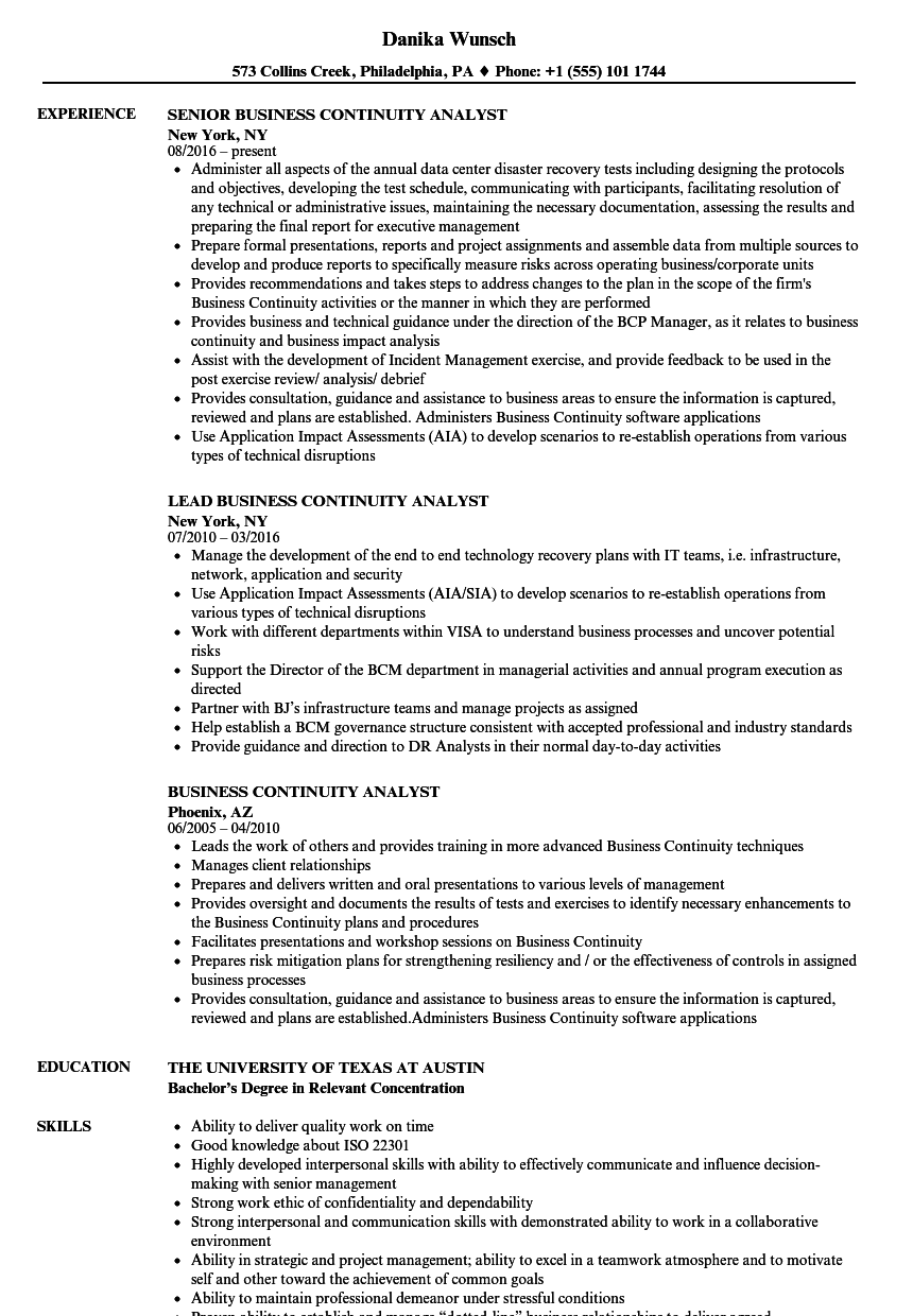 business continuity analyst resume samples velvet jobs