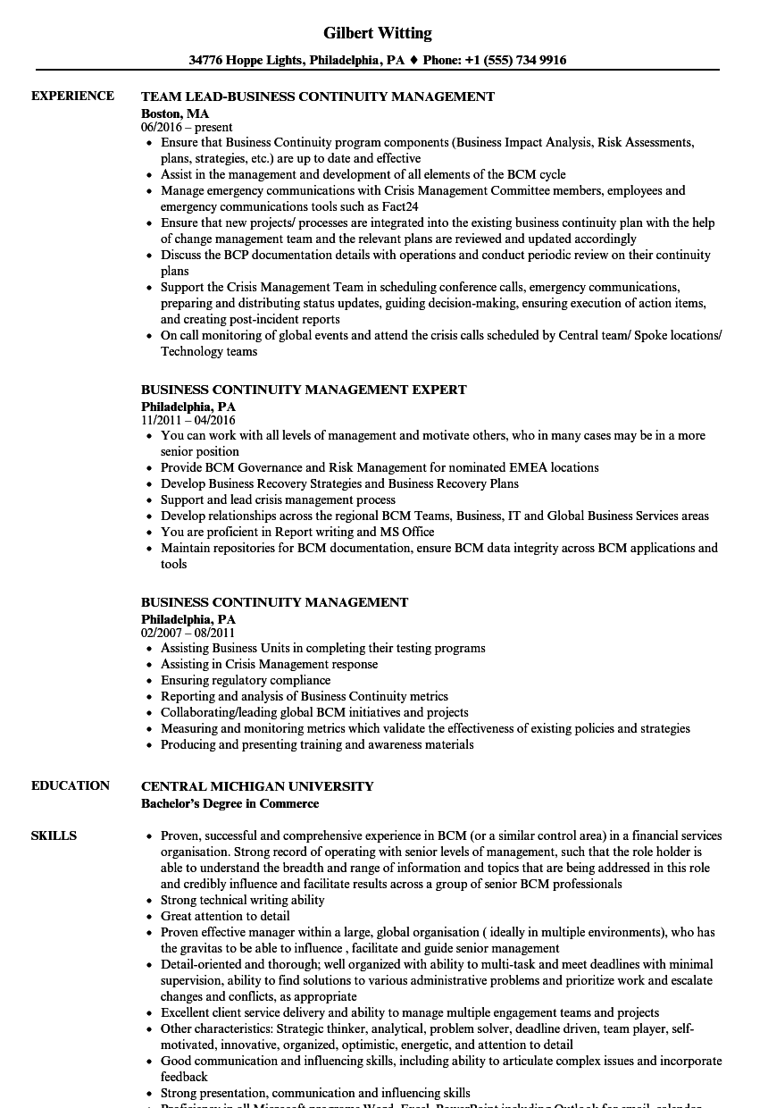 Business Continuity Management Resume Samples | Velvet Jobs
