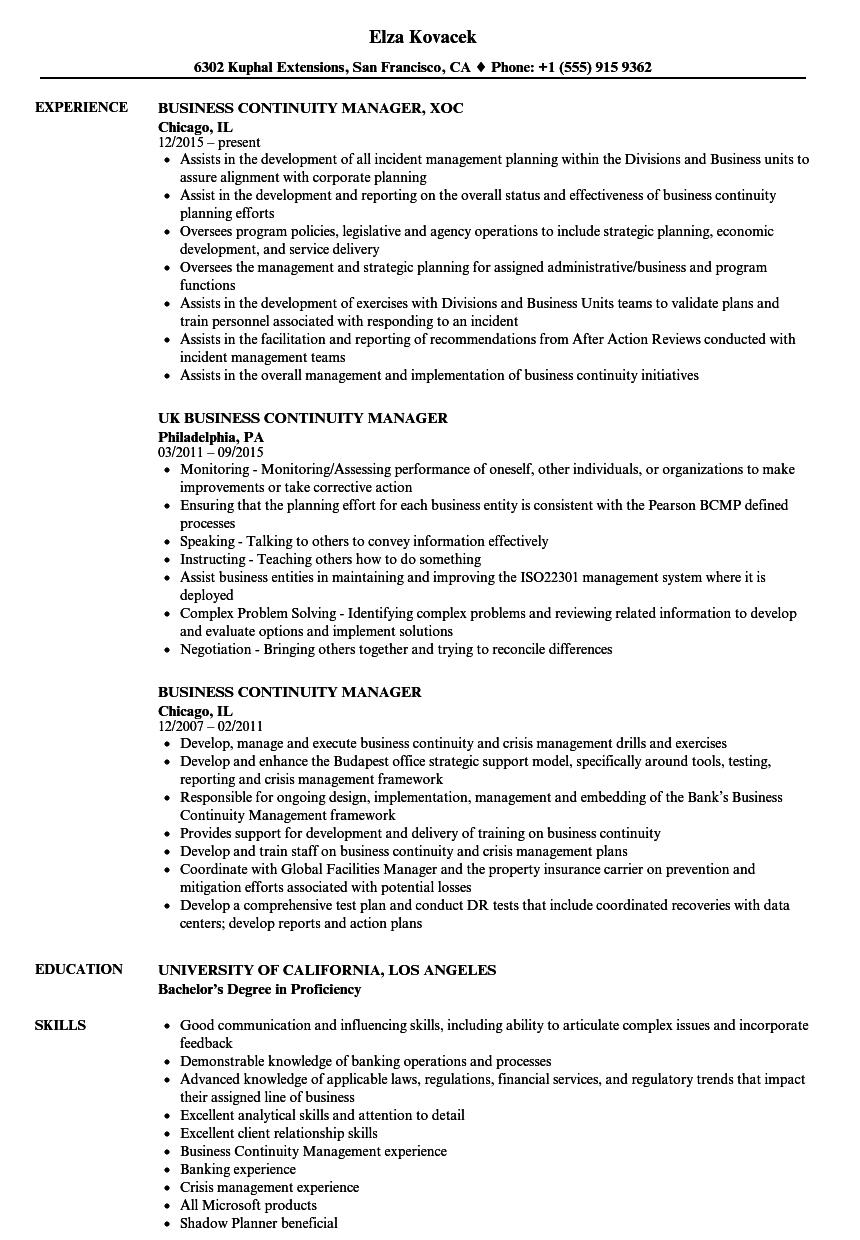 business continuity manager resume samples