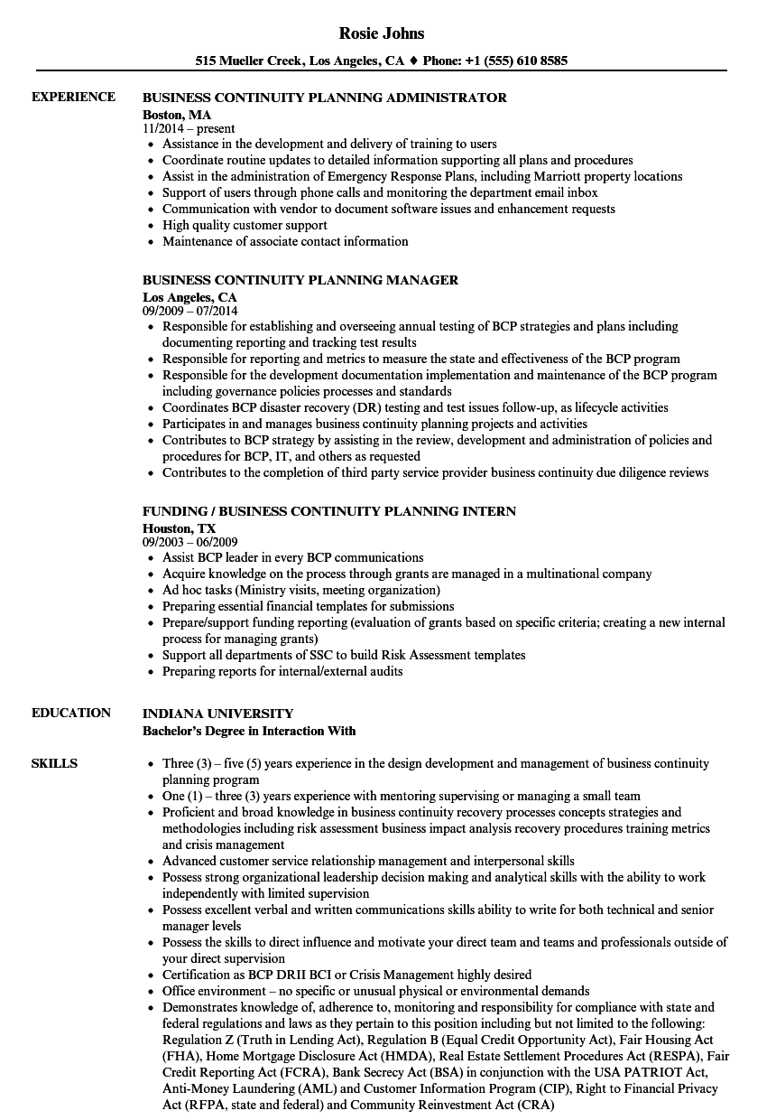 Business Continuity Planning Resume Samples | Velvet Jobs