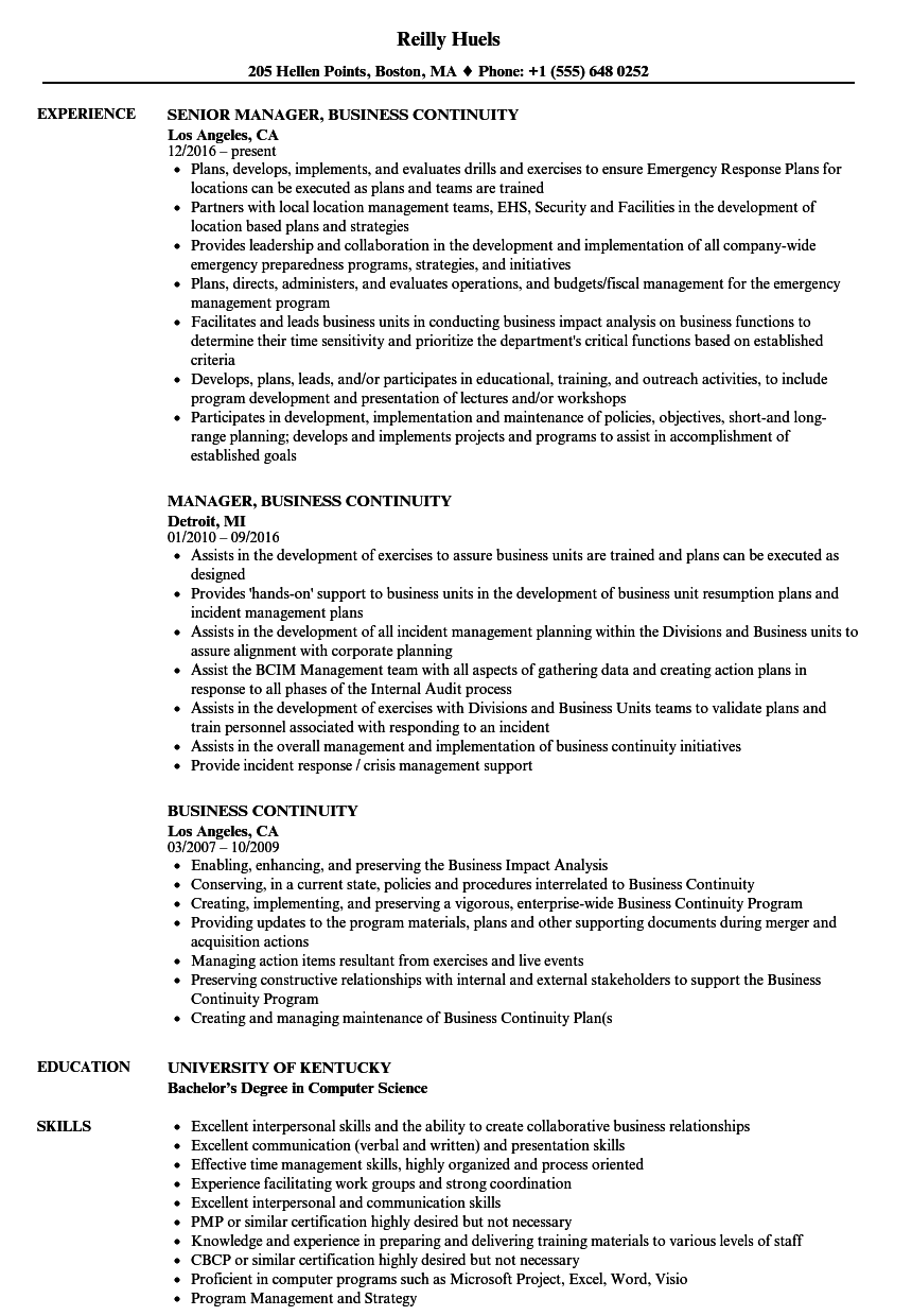 Business Continuity Resume Samples | Velvet Jobs