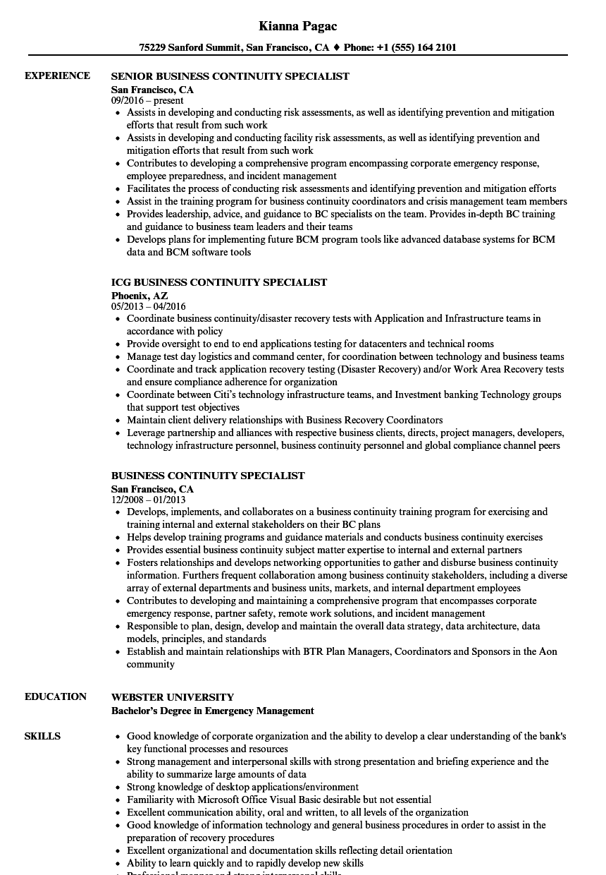 Business Continuity Specialist Resume Samples | Velvet Jobs