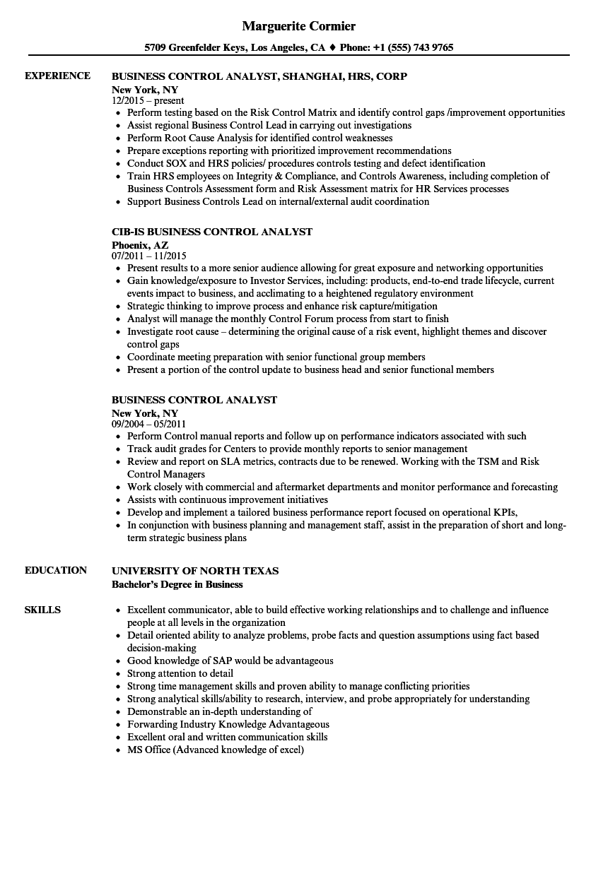 business control analyst resume samples