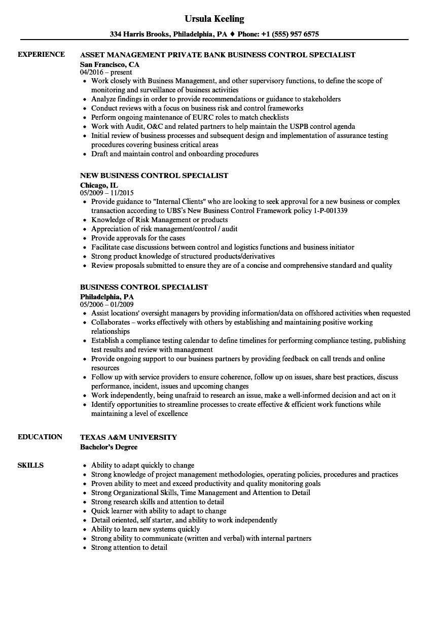 Business Control Specialist Resume Samples Velvet Jobs