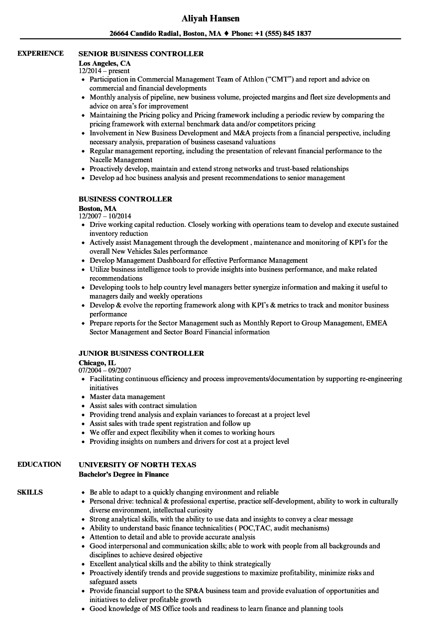 Business Controller Resume Samples | Velvet Jobs