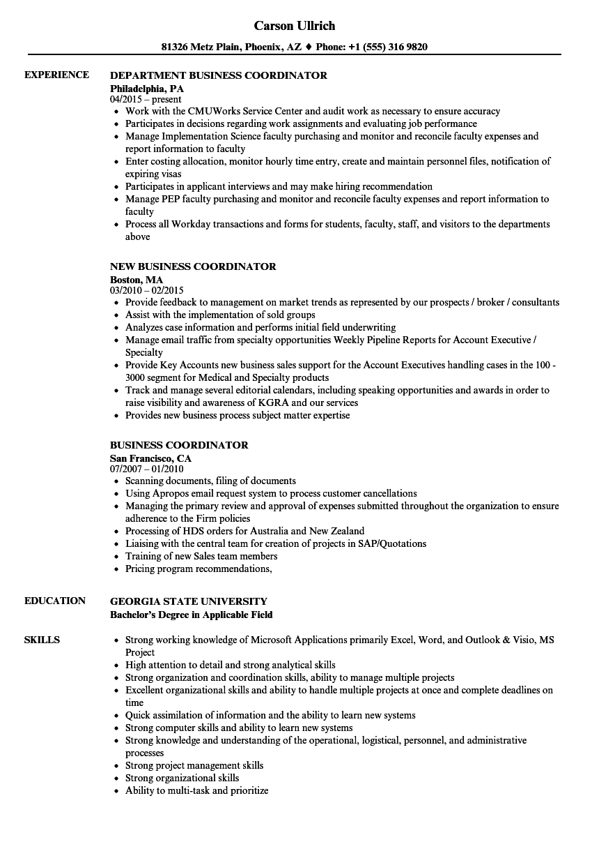 Business Coordinator Resume Samples | Velvet Jobs