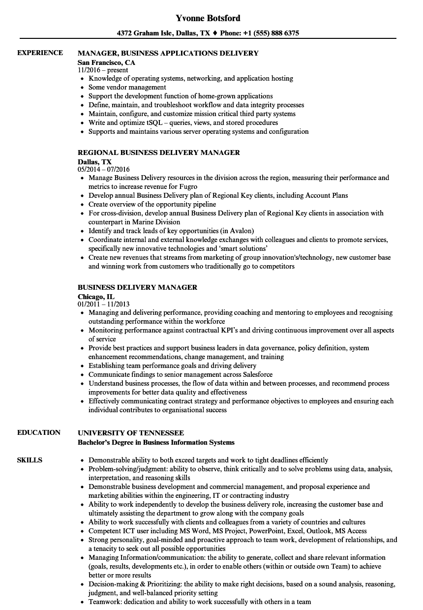 business delivery manager resume samples
