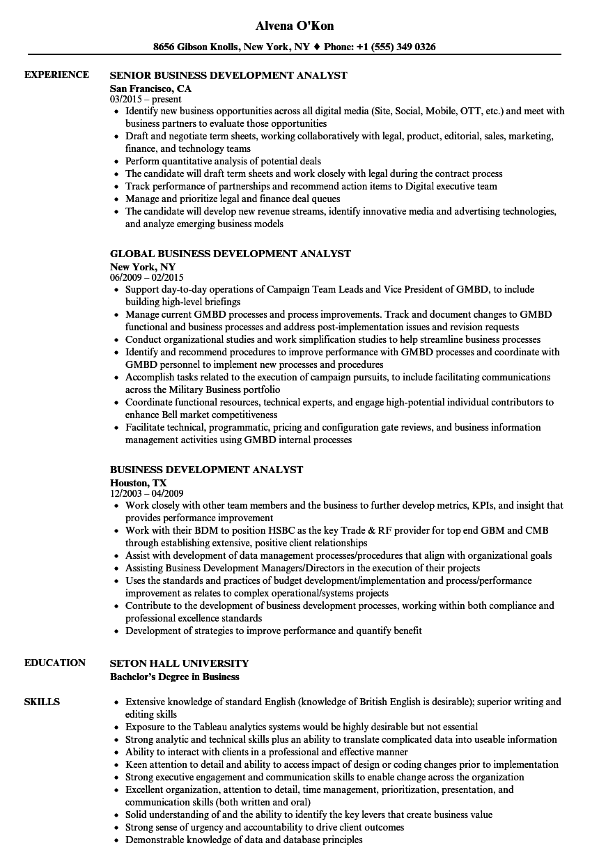 Business Development Analyst Resume