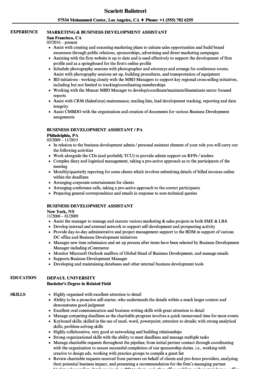 resume Resume Development business development assistant resume samples velvet jobs download sample as image file