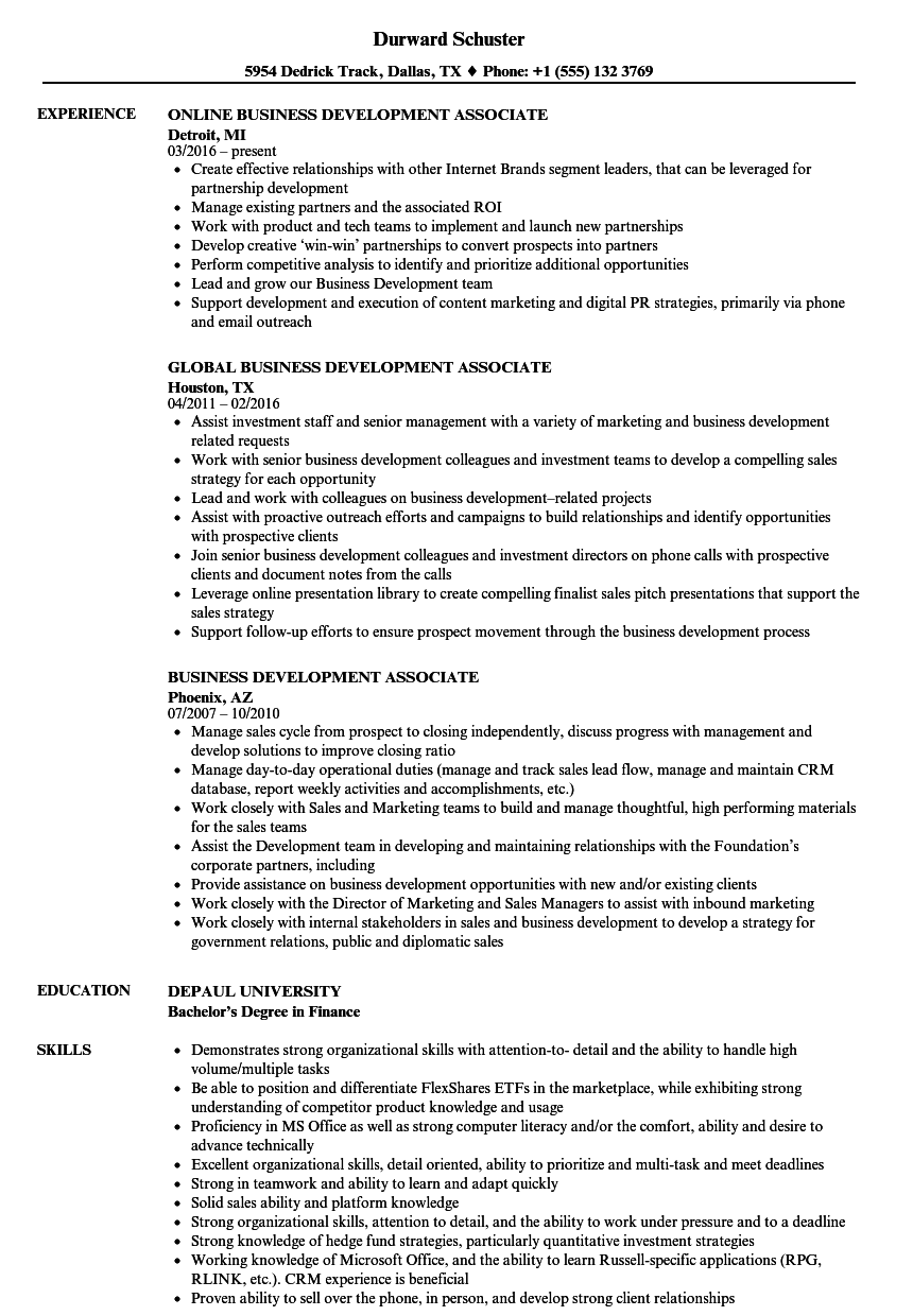 business development associate resume samples