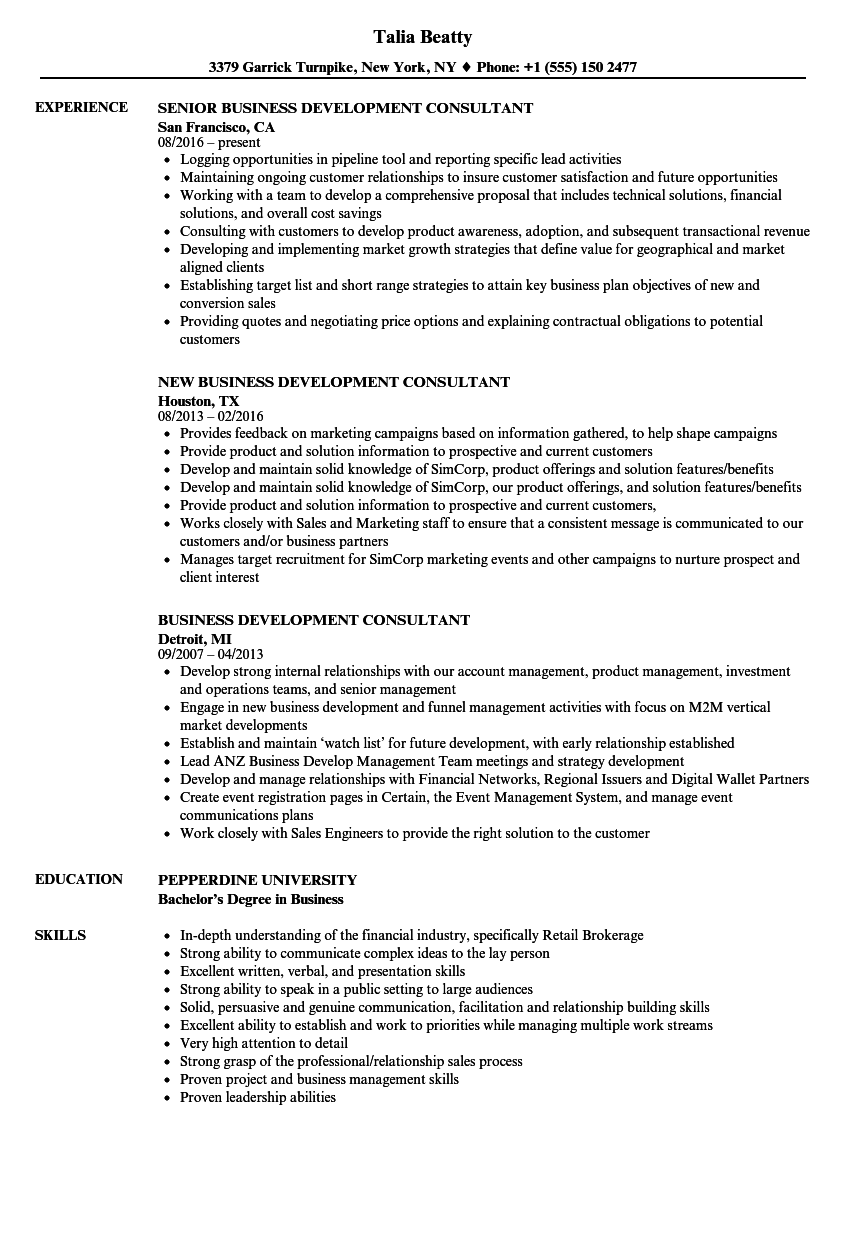 sample business development consultant resume