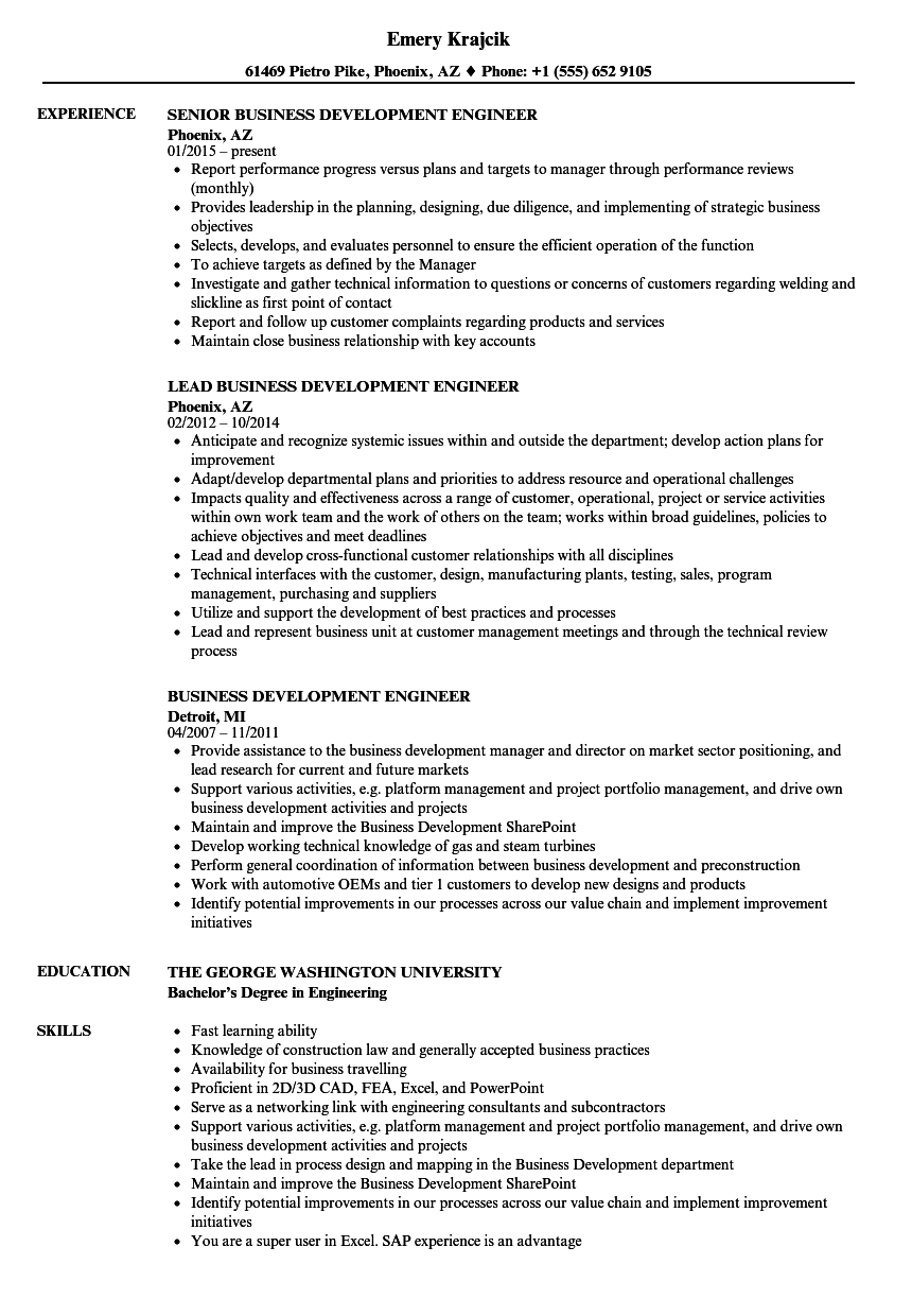 Business Development Engineer Resume Samples | Velvet Jobs