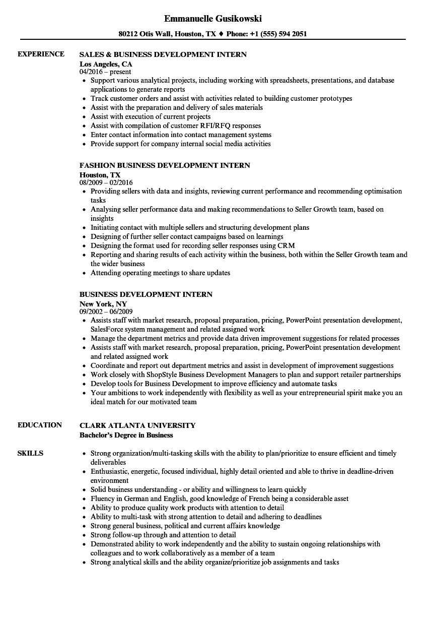 download business development intern resume sample as image file