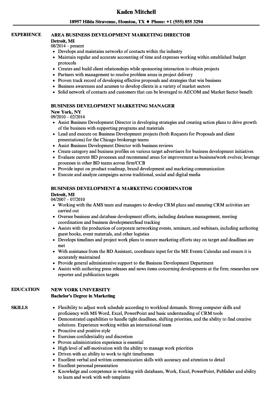 business development    marketing resume samples