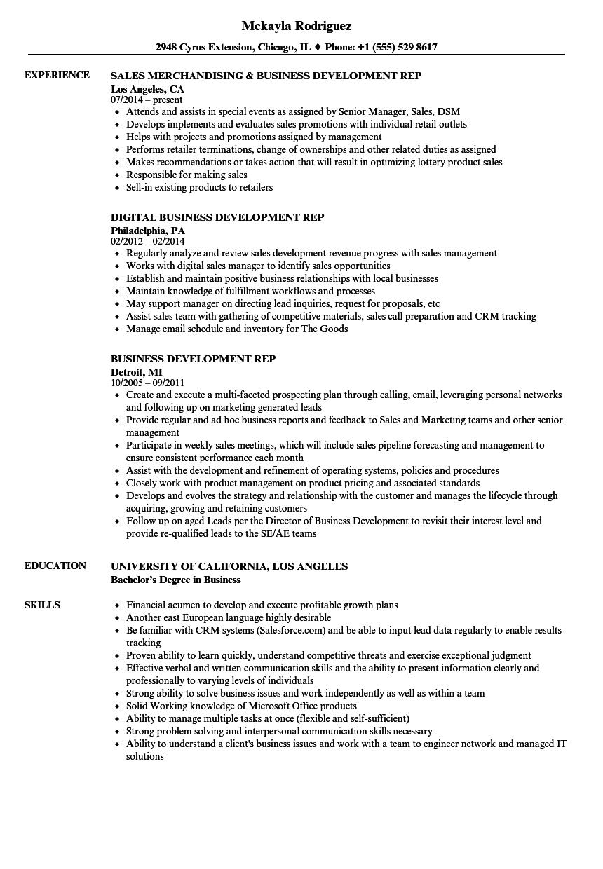 Business Development Rep Resume Samples Velvet Jobs